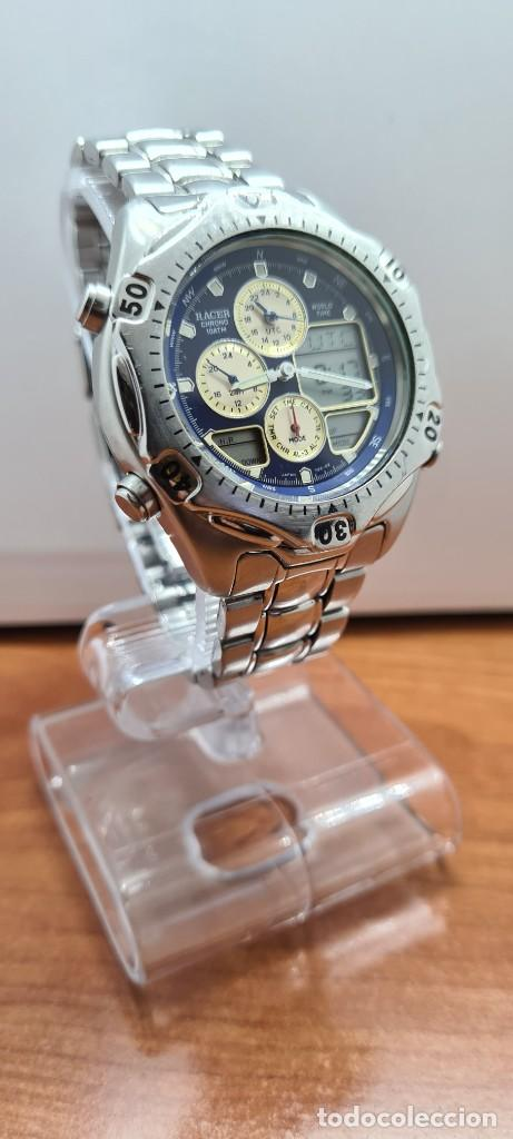 Relojes - Racer: Reloj caballero RACER World Time cronógrafo alarma análogico y digital en acero, correa de acero. - Foto 6 - 253882080