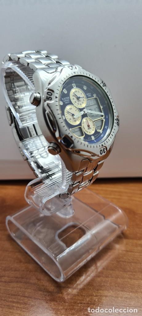 Relojes - Racer: Reloj caballero RACER World Time cronógrafo alarma análogico y digital en acero, correa de acero. - Foto 8 - 253882080