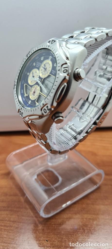Relojes - Racer: Reloj caballero RACER World Time cronógrafo alarma análogico y digital en acero, correa de acero. - Foto 9 - 253882080