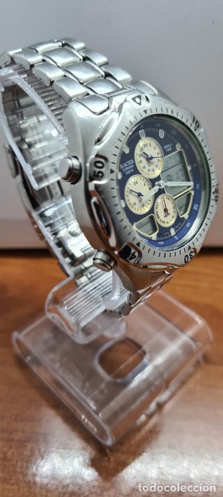 Relojes - Racer: Reloj caballero RACER World Time cronógrafo alarma análogico y digital en acero, correa de acero. - Foto 10 - 253882080