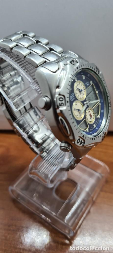 Relojes - Racer: Reloj caballero RACER World Time cronógrafo alarma análogico y digital en acero, correa de acero. - Foto 12 - 253882080