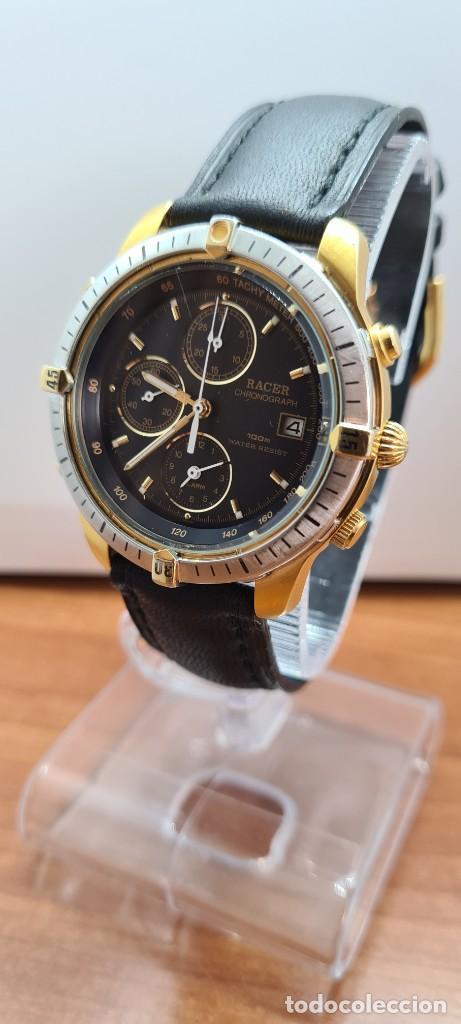 Relojes - Racer: Reloj caballero RACER acero bicolor, cronógrafo alarma, esfera negra, correa de cuero negra sin uso. - Foto 2 - 253988030