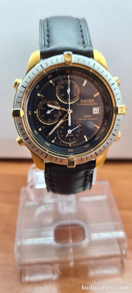 Relojes - Racer: Reloj caballero RACER acero bicolor, cronógrafo alarma, esfera negra, correa de cuero negra sin uso. - Foto 3 - 253988030