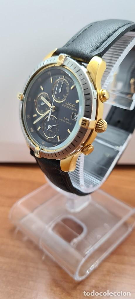 Relojes - Racer: Reloj caballero RACER acero bicolor, cronógrafo alarma, esfera negra, correa de cuero negra sin uso. - Foto 4 - 253988030