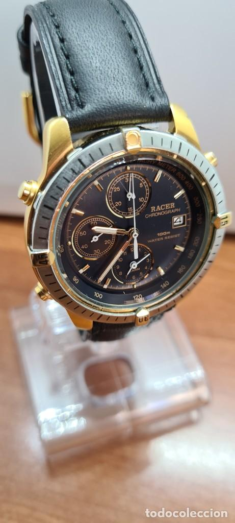 Relojes - Racer: Reloj caballero RACER acero bicolor, cronógrafo alarma, esfera negra, correa de cuero negra sin uso. - Foto 5 - 253988030