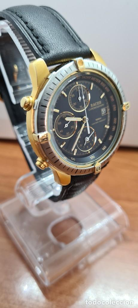 Relojes - Racer: Reloj caballero RACER acero bicolor, cronógrafo alarma, esfera negra, correa de cuero negra sin uso. - Foto 7 - 253988030