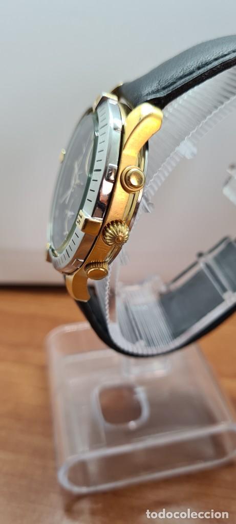 Relojes - Racer: Reloj caballero RACER acero bicolor, cronógrafo alarma, esfera negra, correa de cuero negra sin uso. - Foto 8 - 253988030