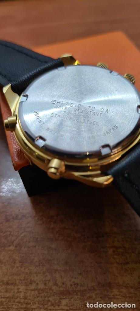 Relojes - Racer: Reloj caballero RACER acero bicolor, cronógrafo alarma, esfera negra, correa de cuero negra sin uso. - Foto 16 - 253988030