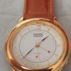 Relojes - Racer: RELOJ RACER ALARMA CUARZO NUEVO FUNCIONA BIEN LLEVA BATERÍA DE CALIDAD CHAPADO ORO. Lote 287102888