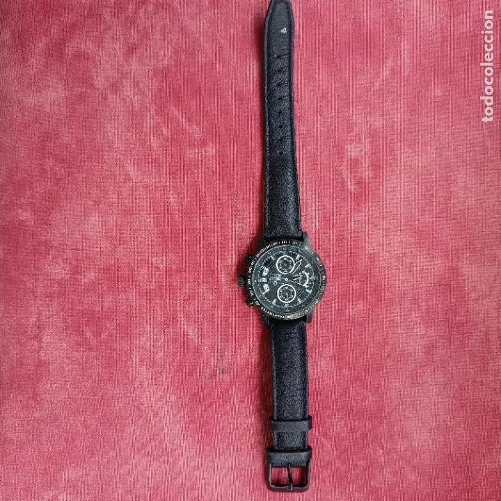 Relojes - Racer: Reloj caballero Racer cronografo de acero pavonado negro, calendario a las tres, correa cuero negra - Foto 2 - 287793873