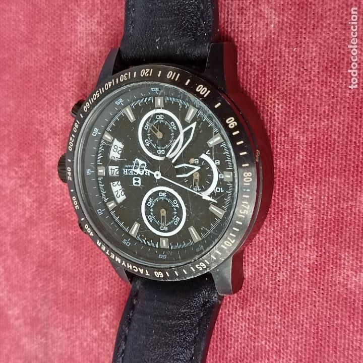 Relojes - Racer: Reloj caballero Racer cronografo de acero pavonado negro, calendario a las tres, correa cuero negra - Foto 3 - 287793873