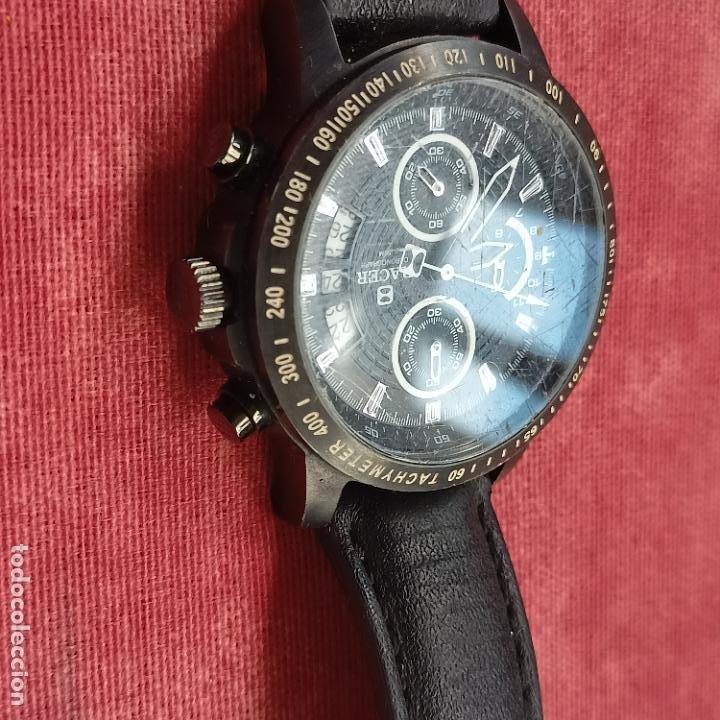 Relojes - Racer: Reloj caballero Racer cronografo de acero pavonado negro, calendario a las tres, correa cuero negra - Foto 4 - 287793873