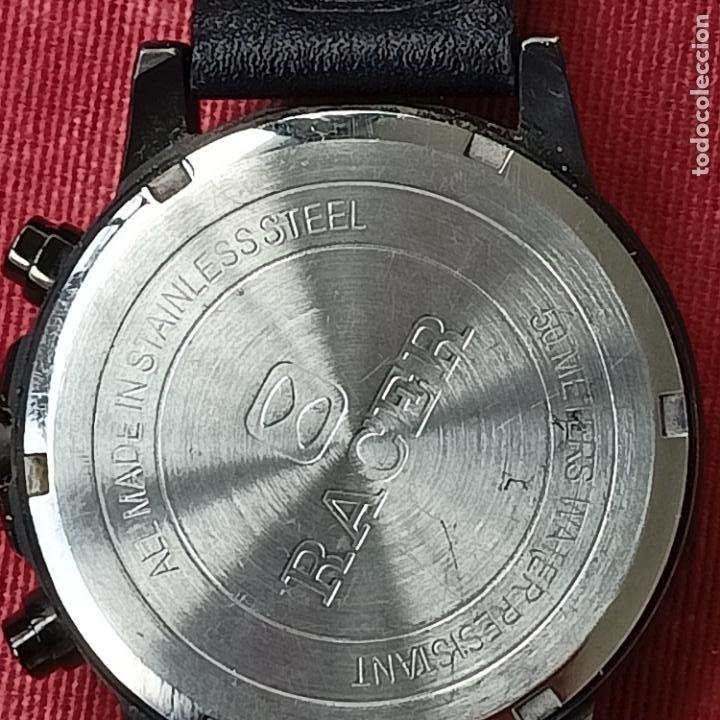 Relojes - Racer: Reloj caballero Racer cronografo de acero pavonado negro, calendario a las tres, correa cuero negra - Foto 5 - 287793873