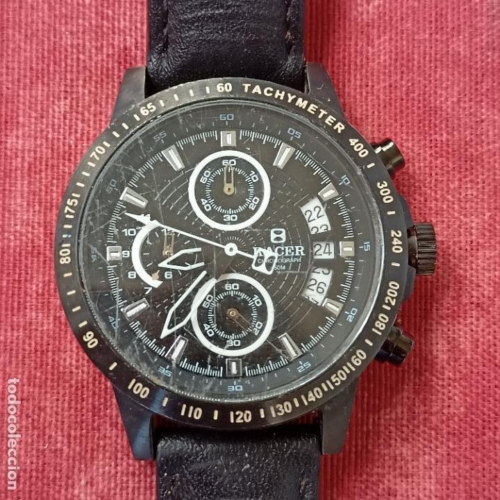 RELOJ CABALLERO RACER CRONOGRAFO DE ACERO PAVONADO NEGRO, CALENDARIO A LAS TRES, CORREA CUERO NEGRA (Relojes - Relojes Actuales - Racer)