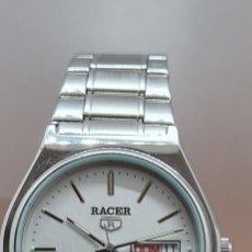 Relojes - Racer: RELOJ RACER DE CUARZO EN ACERO, CORONA DE ROSCA, ESFERA BLANCA DOBLE CALENDARIO, PULSERA ACERO RACER. Lote 291436648