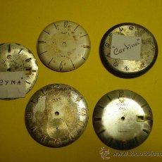 Recambios de relojes: LOTE DE 5 ESFERAS PARA RELOJES DE PULSERA DE CABALLERO.. Lote 23854024