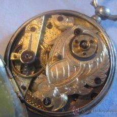 Recambios de relojes: MARAVILLOSO RELOJ DE BOLSILLO SUIZO UNICO POR SU MAQUINARIA CINCELADA A MANO,COMPLETO DE PLATA,1870. Lote 32569193