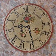 Recambios de relojes: ESFERA DE RELOJ ANTIGUO PINTADA Y CON SUS AGUJAS. Lote 36862132