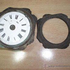Recambios de relojes: ANTIGUO SOPORTE DE RELOJ DESPERTADOR ANTIGUO Y SU ESFERA DE PORCELANA AÑO 1880. Lote 37513577