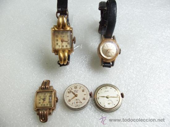 lote de muy antiguos relojes de dama todos de marca enchapados para