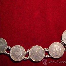 Recambios de relojes: GRAN LEONTINA DE PLATA HACIA 1910 - MONEDAS ALEMANAS. Lote 38780404