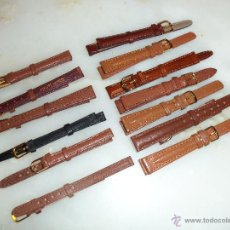 Recambios de relojes: LOTE DE 13 CORREAS DE CUERO GENUINO PARA RELOJES DE DAMA - A ESTRENAR - NO SE LO PIERDA !. Lote 46007412