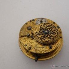 Recambios de relojes: MECANISMO RELOJ DE BOLSILLO INGLES , DIÁMETRO 38MM, FUNCIONANDO. Lote 46986527