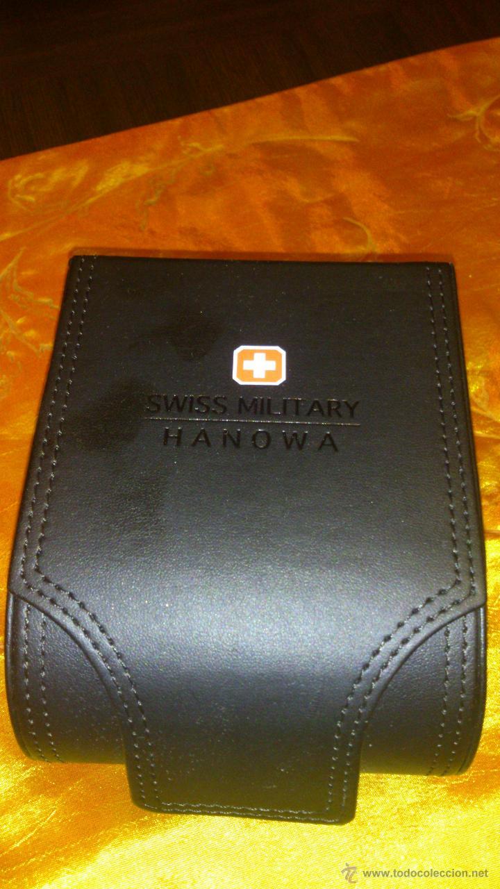 Recambios de relojes: Estuche de cuero negro SWISS MILITARY HANOWA. Original. - Foto 2 - 47174775