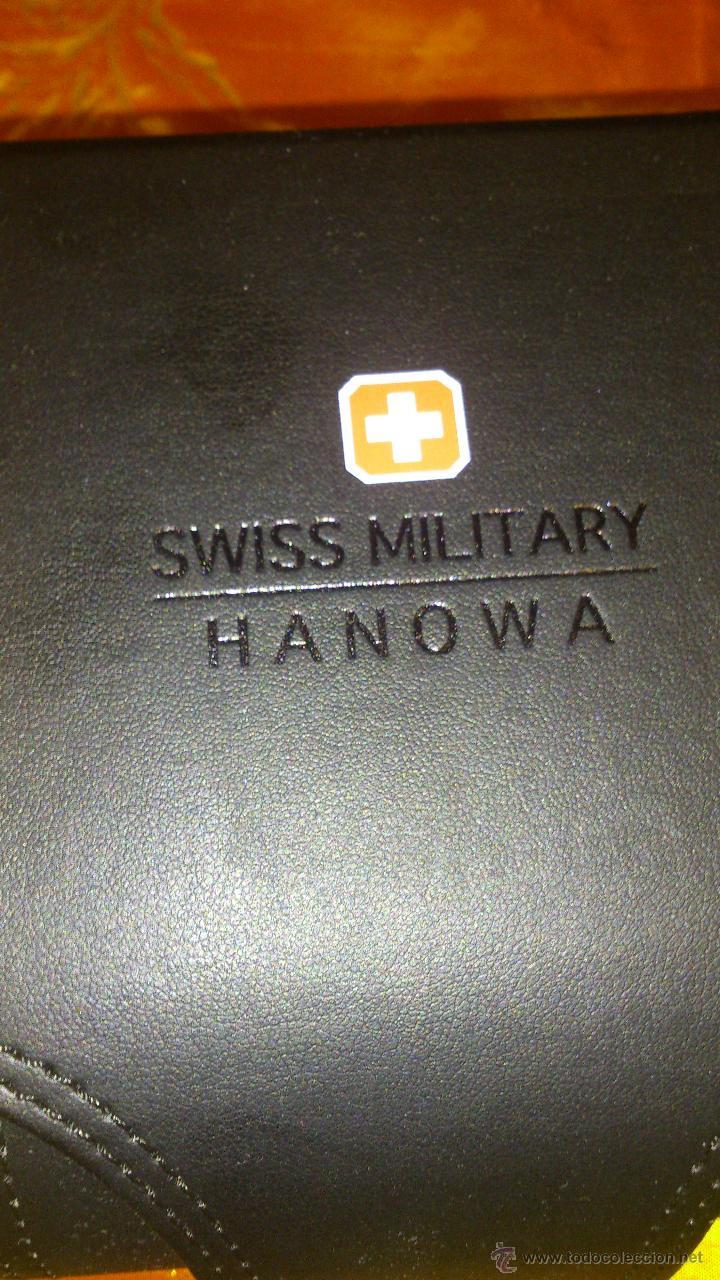 Recambios de relojes: Estuche de cuero negro SWISS MILITARY HANOWA. Original. - Foto 3 - 47174775