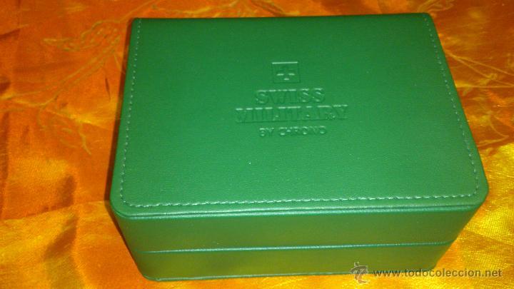 Recambios de relojes: Bonito estuche caja de SWISS MILITARY BY CHRONO.De cuero vede. Original. - Foto 4 - 47175739