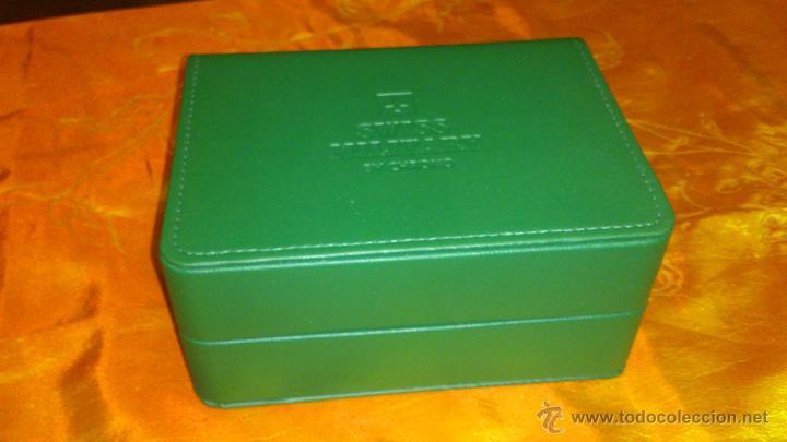 Recambios de relojes: Bonito estuche caja de SWISS MILITARY BY CHRONO.De cuero vede. Original. - Foto 5 - 47175739