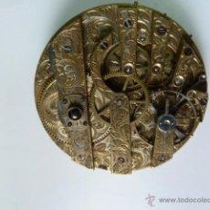 Recambios de relojes: MECANISMO DE RELOJ DE BOLSILLO PLANO 7 PUENTES INDEPENDIENTES, TOTALMENTE GRABADO. Lote 48415114