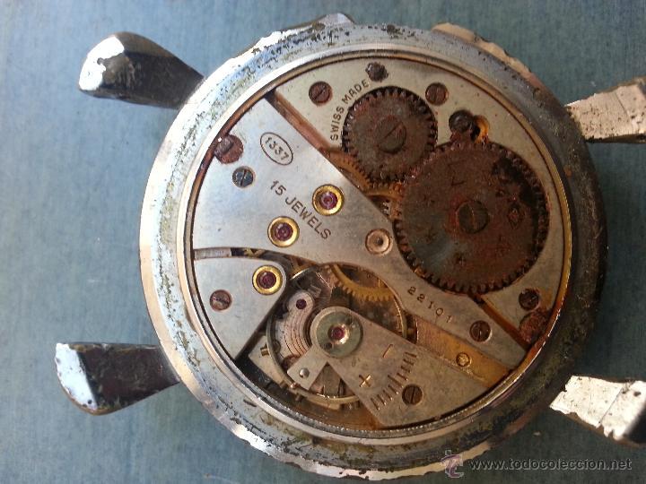 Recambios de relojes: antiguo reloj edox 15 jewels arreglar para piezas o coleccion, falta tapa corona correas . ver fotos - Foto 4 - 50762896