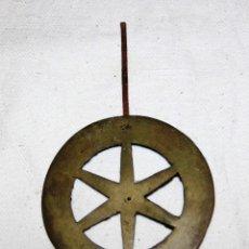 Recambios de relojes: ANTIGUO DISCO DE PENDULO DE BRONCE PARA RELOJ DE PARED SELVA NEGRA , RATERA. Lote 54577051