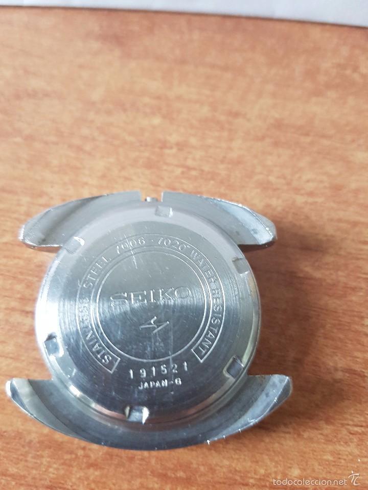 CAJA PARA RELOJ DE CABALLERO SEIKO 7006 SIN MÁQUINA EN ACERO CON TAPA TRASERA, CRISTAL, SEGUNDA MANO (Relojes - Recambios)