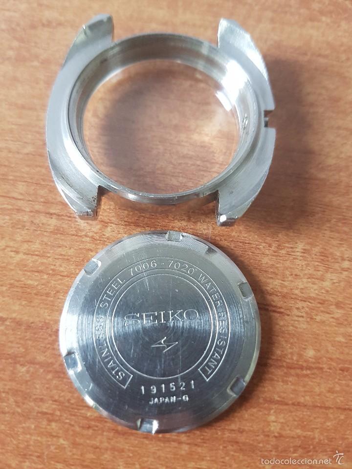 Recambios de relojes: Caja para reloj de caballero Seiko 7006 sin máquina en acero con tapa trasera, cristal, segunda mano - Foto 2 - 58249422
