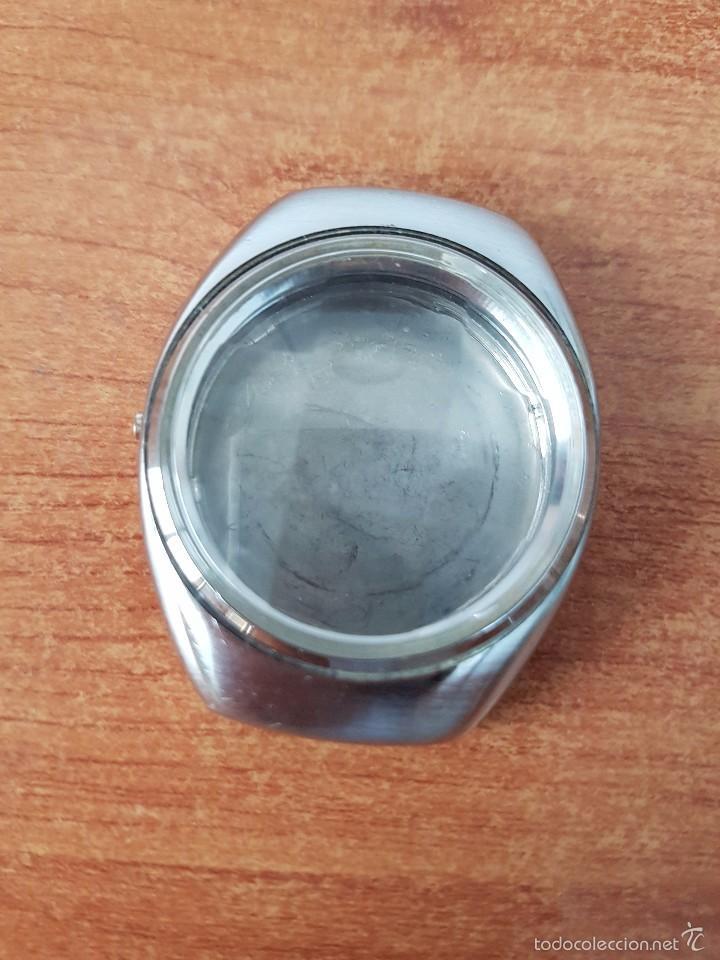 Recambios de relojes: Caja para reloj de caballero sin máquina en acero con tapa trasera, cristal biselado segunda mano - Foto 2 - 58259887