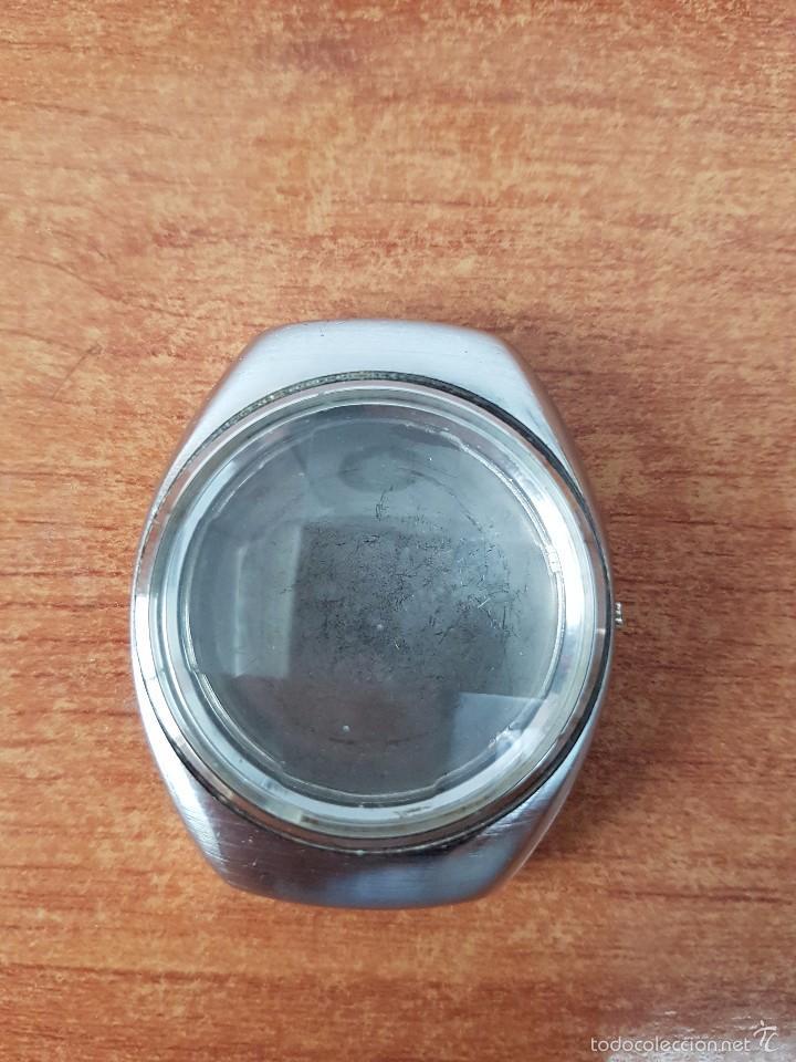 Recambios de relojes: Caja para reloj de caballero sin máquina en acero con tapa trasera, cristal biselado segunda mano - Foto 6 - 58259887