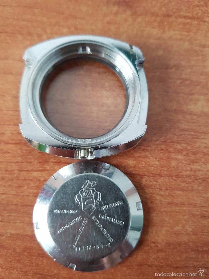 Recambios de relojes: Caja para reloj de caballero sin máquina en acero con tapa trasera, cristal nuevo y segunda mano - Foto 5 - 58266042