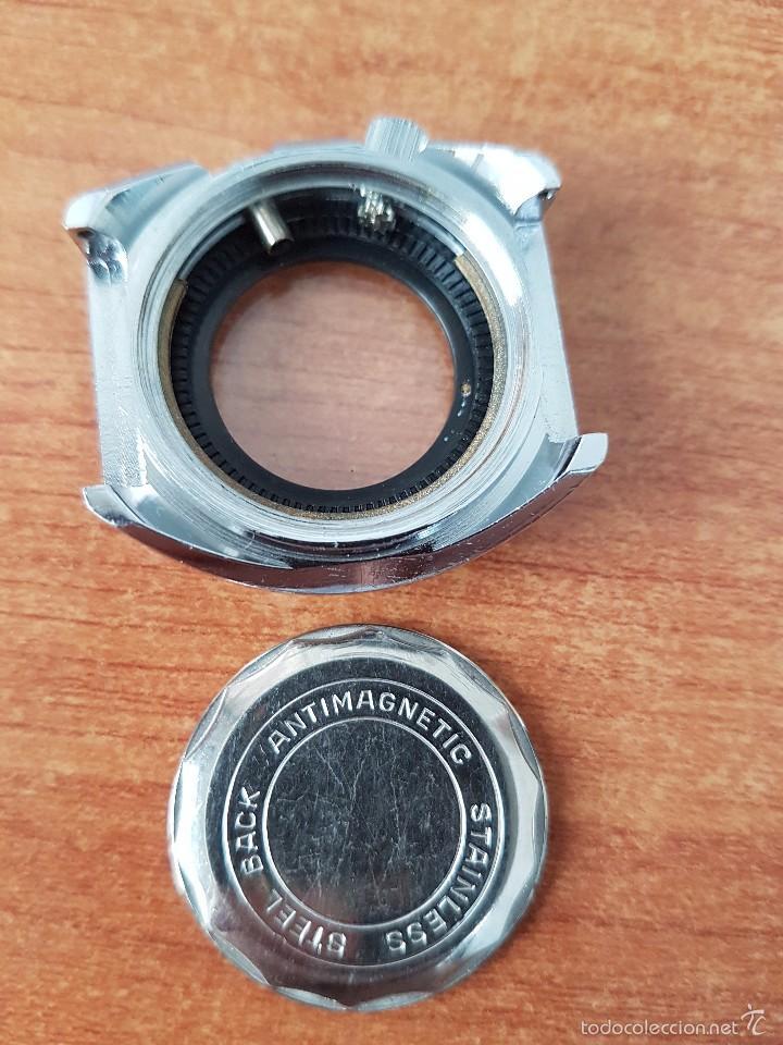 Recambios de relojes: Caja para reloj de caballero sin máquina en acero con tapa trasera, cristal, segunda mano - Foto 7 - 58266566
