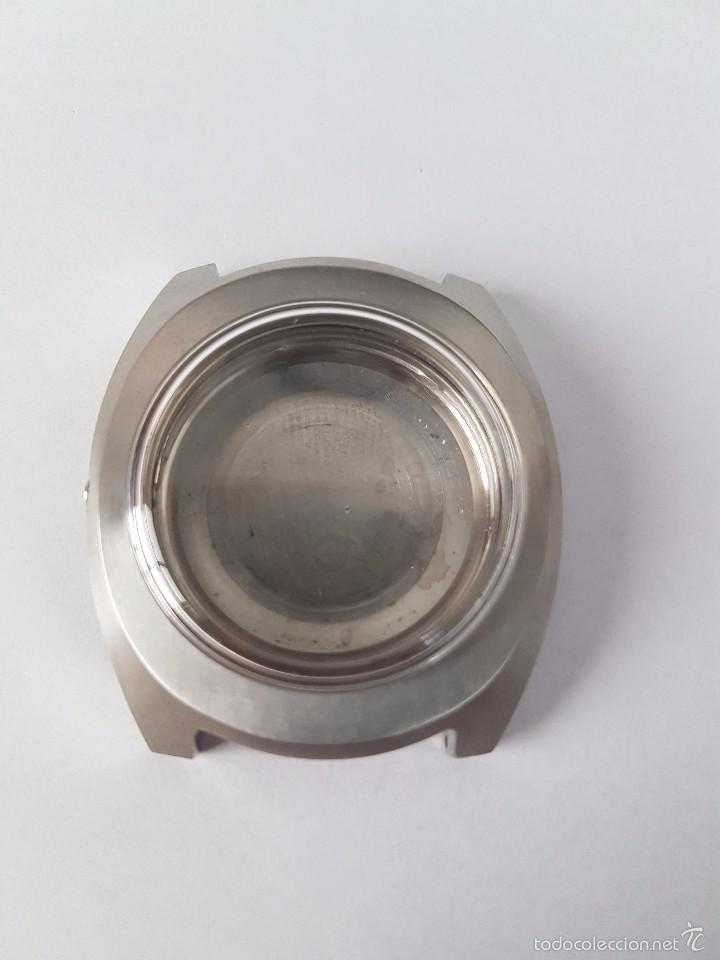 Recambios de relojes: Caja para reloj de caballero sin máquina en acero con tapa trasera, cristal nuevo, segunda mano - Foto 4 - 58267036