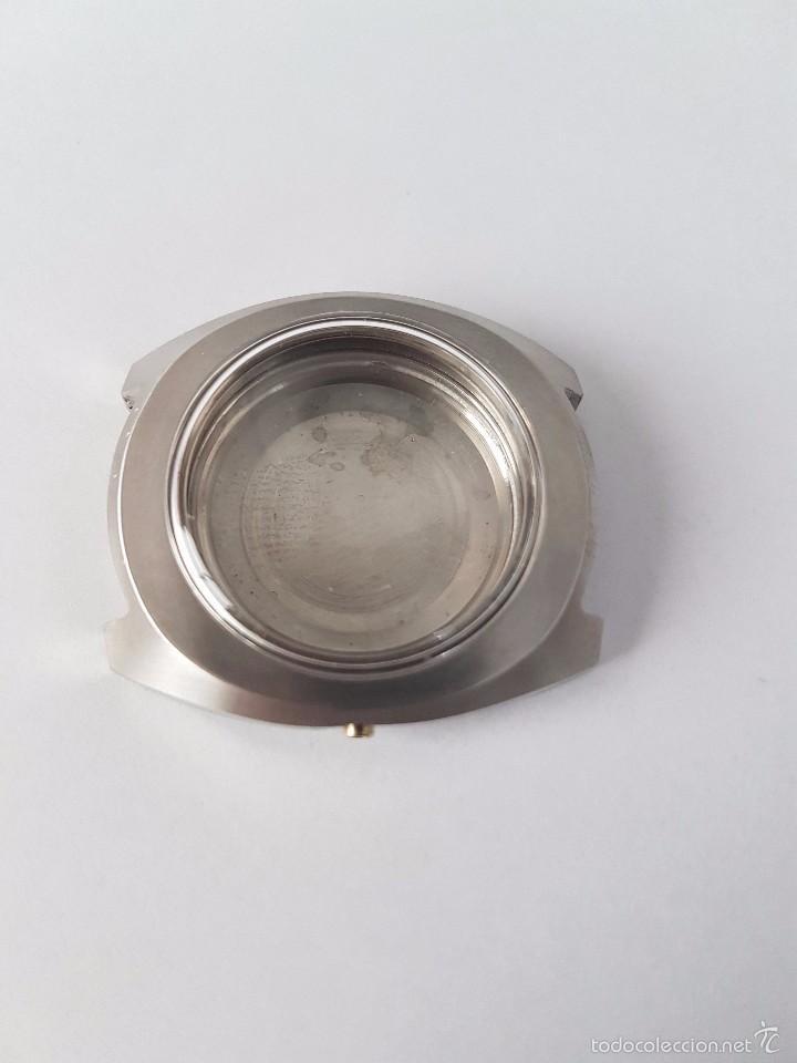 Recambios de relojes: Caja para reloj de caballero sin máquina en acero con tapa trasera, cristal nuevo, segunda mano - Foto 6 - 58267036