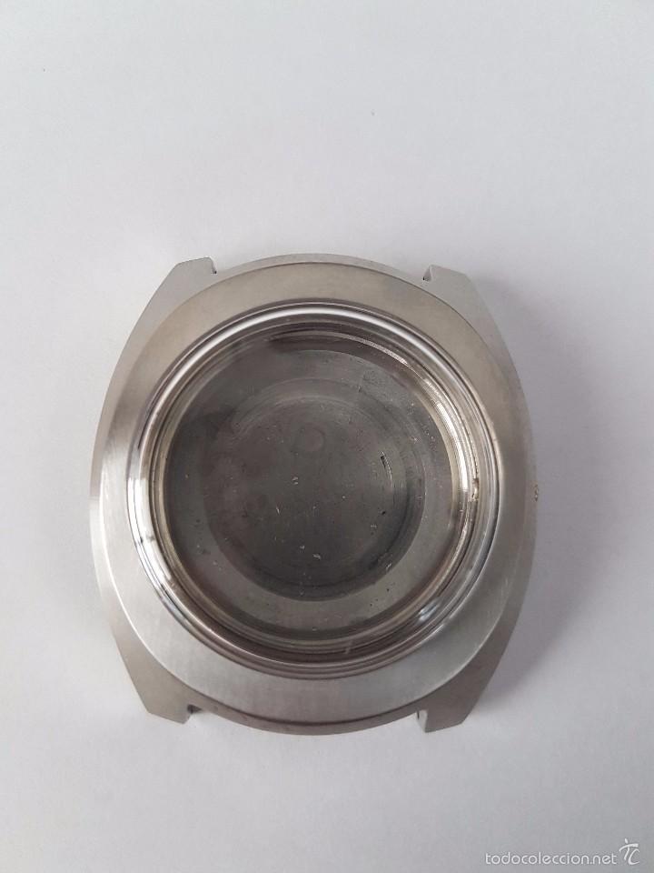 Recambios de relojes: Caja para reloj de caballero sin máquina en acero con tapa trasera, cristal nuevo, segunda mano - Foto 7 - 58267036