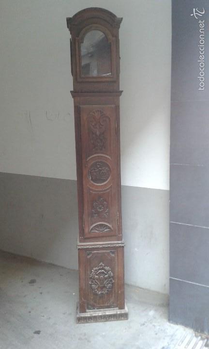 CAJA RELOJ PIE ROBLE SIGLO XIX (Relojes - Recambios)