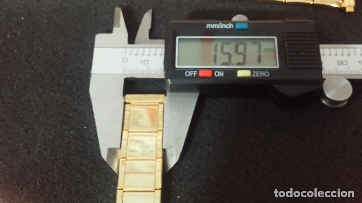 Recambios de relojes: DOS ARMIS O CORREA DORADO VINTAGE PARA RELOJ, SIN USO, EXTENSIBLES A LO ANCHO Y LARGO - Foto 12 - 64515875