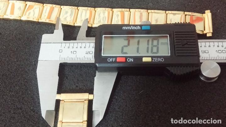 Recambios de relojes: DOS ARMIS O CORREA DORADO VINTAGE PARA RELOJ, SIN USO, EXTENSIBLES A LO ANCHO Y LARGO - Foto 16 - 64515875
