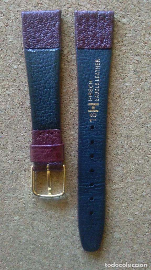 Recambios de relojes: Correa reloj calidad 18 mm marca HIRSCH modelo Saddle leather color rojo oscuro. - Foto 2 - 69681329
