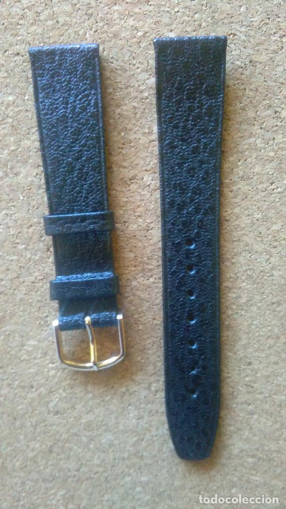 CORREA RELOJ CALIDAD 18 MM MARCA HIRSCH MODELO SADDLE LEATHER COLOR NEGRO. (Relojes - Recambios)