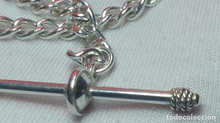 Recambios de relojes: Hermosa y bella leontina o cadena de plata para reloj de bolsillo antiguo, sobre 34 cms. - Foto 4 - 69799717