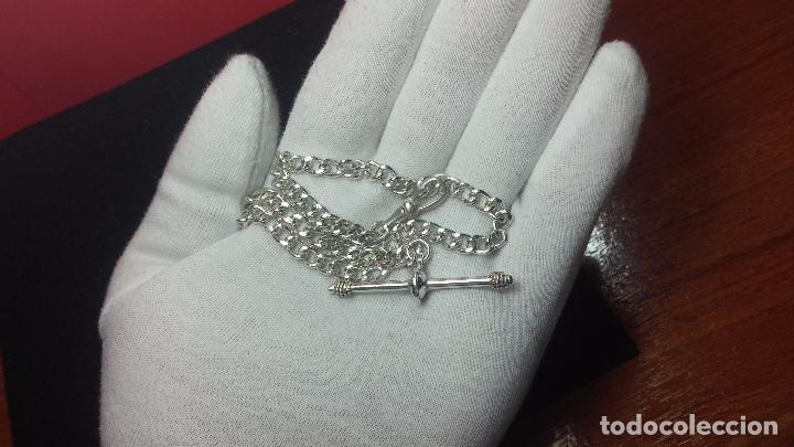 Recambios de relojes: Hermosa y bella leontina o cadena de plata para reloj de bolsillo antiguo, sobre 34 cms. - Foto 5 - 69799717